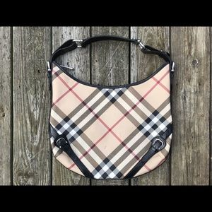 Burberry Larkin Nova Check Hobo Handbag Purse